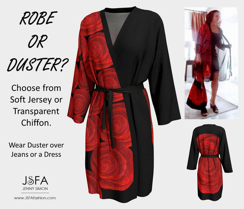 Red Rose Robe by JSFA - Wear as Robe or Duster