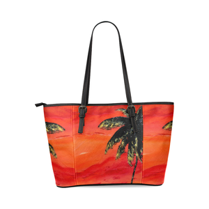 Palm Tree Orange Leather Tote Bag | JSFA