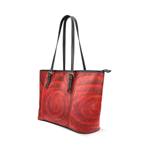 Red Rose Leather Tote Bag Black Trim | JSFA