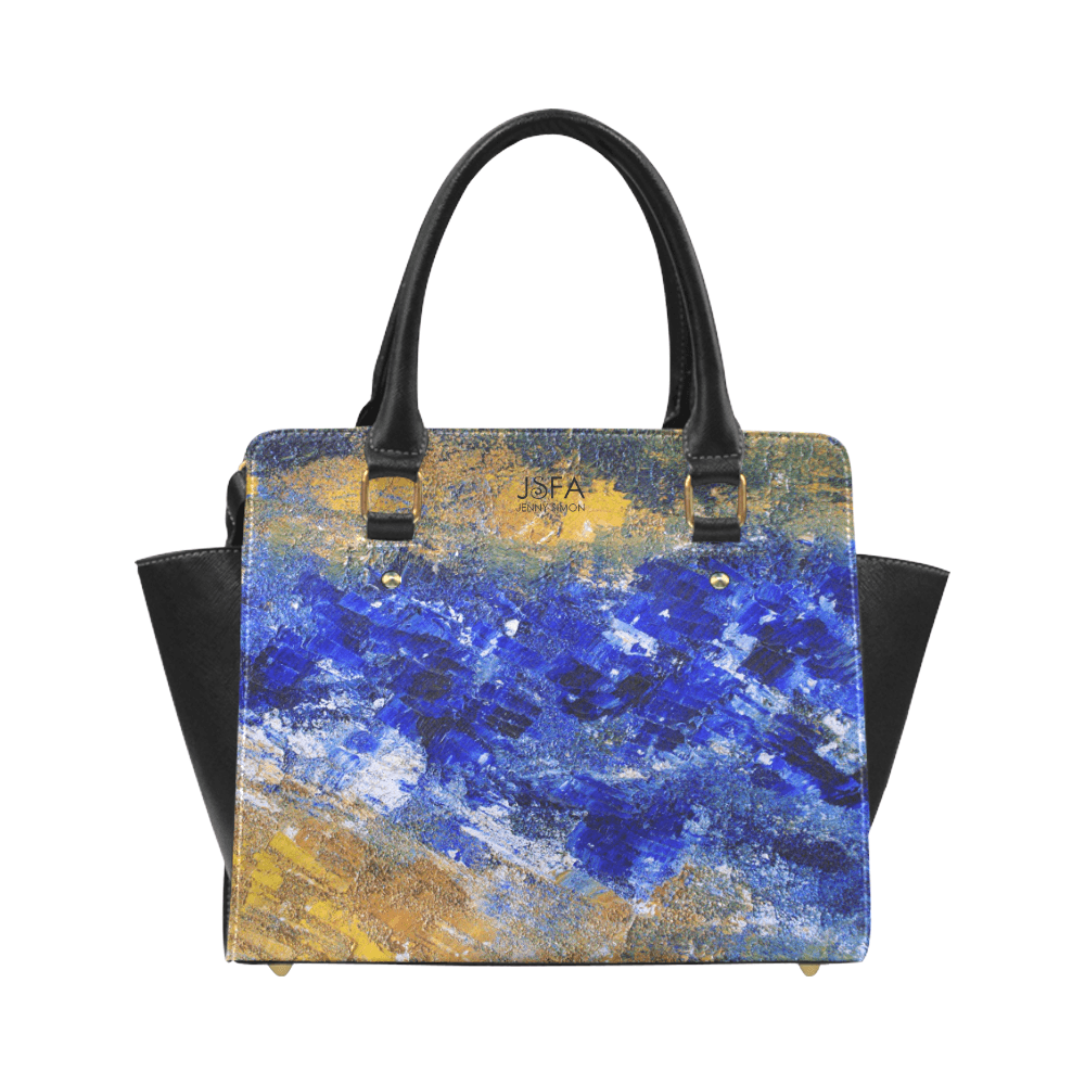 Beaches Blue Yellow Classic Handbag Top Handle | JSFA - JSFA - Original Art On Fashion by Jenny Simon