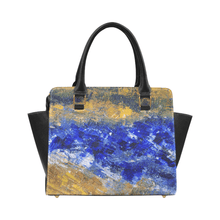 Load image into Gallery viewer, Beaches Blue Yellow Classic Handbag Top Handle | JSFA - JSFA - Original Art On Fashion by Jenny Simon