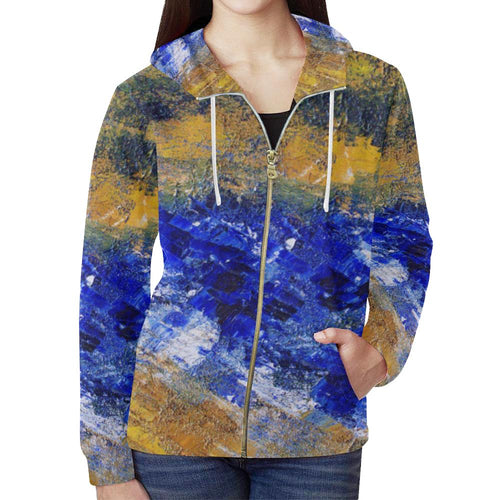 Beaches Women's Zip Up Hoodie Jacket | JSFA - JSFA - Original Art On Fashion by Jenny Simon