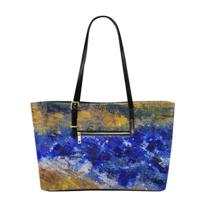 Beaches Yellow Blue Large Tote Bag | JSFA - JSFA - Original Art On Fashion by Jenny Simon