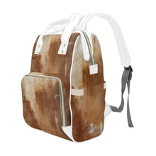 Load image into Gallery viewer, Beige Golden Path Multi-Function Backpack | JSFA - JSFA - Original Art On Fashion by Jenny Simon