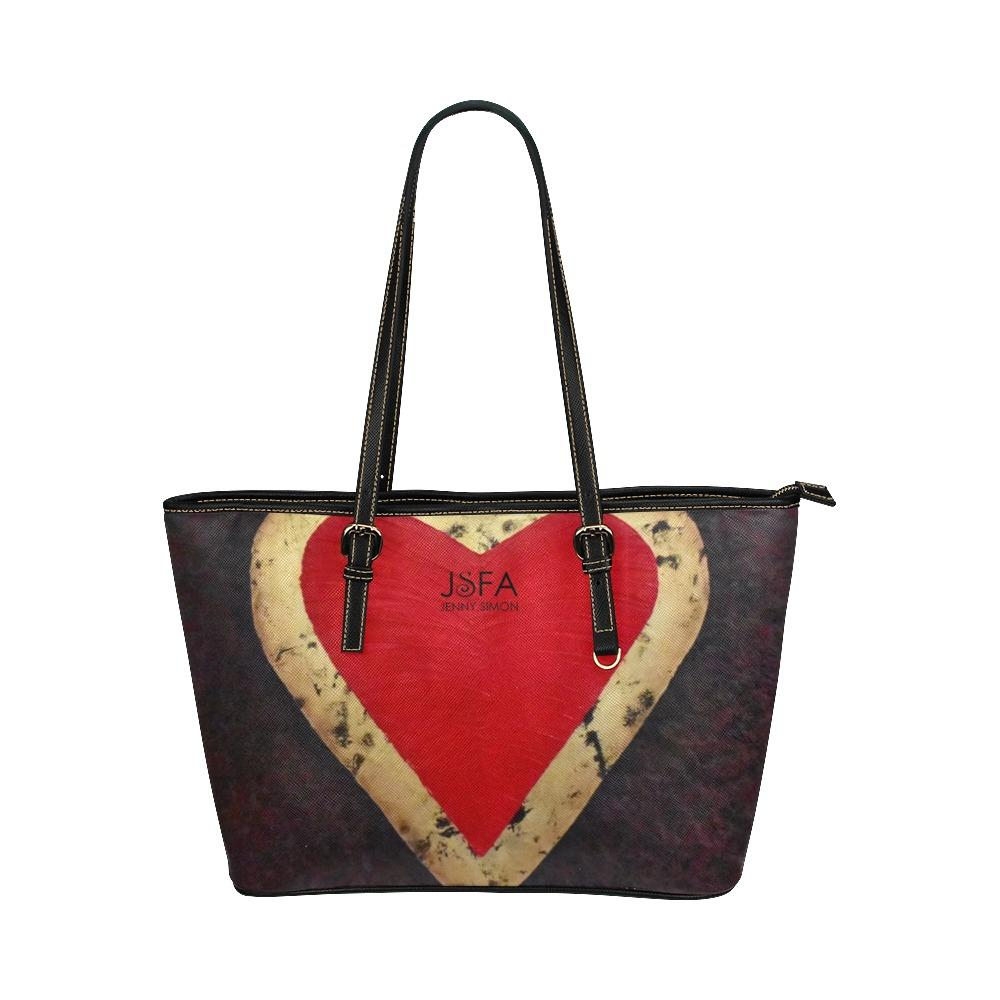 Big Red Heart Medium Zipper Leather Tote Bag | JSFA - JSFA - Original Art On Fashion by Jenny Simon