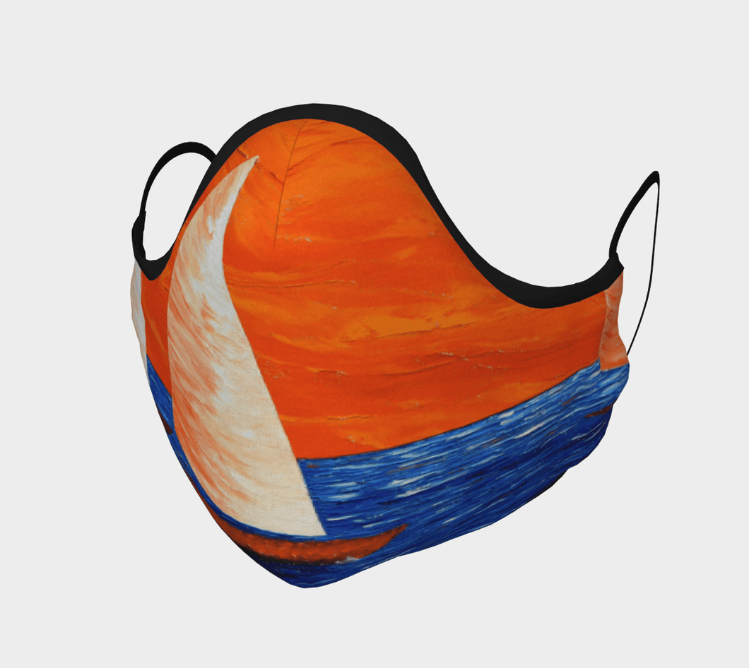 Big Sailboat Face Mask - JSFA - Original Art On Fashion by Jenny Simon