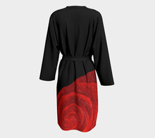 Load image into Gallery viewer, Black Red Rose Bud Robe Duster | JSFA - JSFA - Original Art On Fashion by Jenny Simon