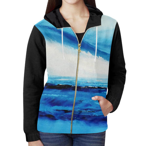 Black Spellbound Blue Women's Zip Up Hoodie Jacket | JSFA - JSFA - Original Art On Fashion by Jenny Simon
