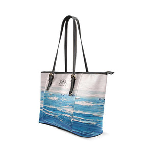 Blue And White Waves Leather Tote Bag | JSFA - JSFA - Original Art On Fashion by Jenny Simon
