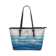 Load image into Gallery viewer, Blue And White Waves Leather Tote Bag | JSFA - JSFA - Original Art On Fashion by Jenny Simon