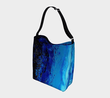 Load image into Gallery viewer, Blue Dark Ocean Wave Shopper | JSFA - JSFA - Original Art On Fashion by Jenny Simon