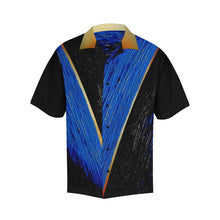 Load image into Gallery viewer, Blue Gold V Stripe Hawaiian Shirt Black Sleeves | JSFA - JSFA - Original Art On Fashion by Jenny Simon