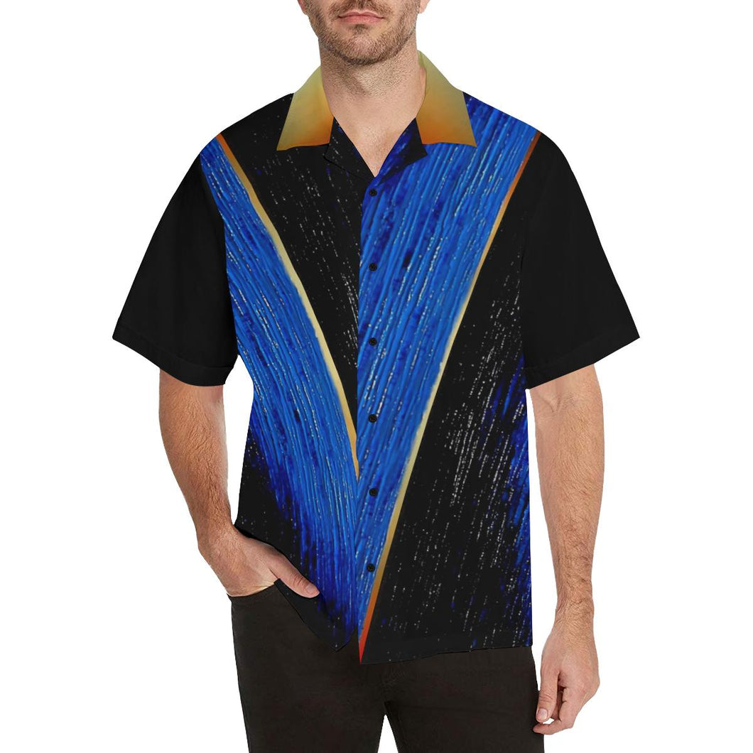 Blue Gold V Stripe Hawaiian Shirt Black Sleeves | JSFA - JSFA - Original Art On Fashion by Jenny Simon