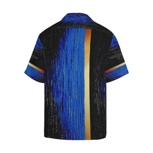 Blue Gold Water One Stripes Hawaiian Shirt | JSFA - JSFA - Original Art On Fashion by Jenny Simon
