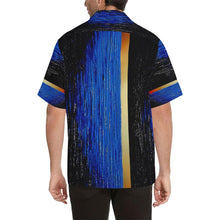 Load image into Gallery viewer, Blue Gold Water One Stripes Hawaiian Shirt | JSFA - JSFA - Original Art On Fashion by Jenny Simon