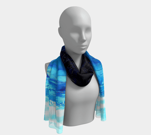 Blue Ocean Long Scarf | JSFA - JSFA - Original Art On Fashion by Jenny Simon