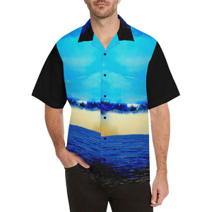 Blue Ocean Rebirth Hawaiian Shirt Black Back | JSFA - JSFA - Original Art On Fashion by Jenny Simon