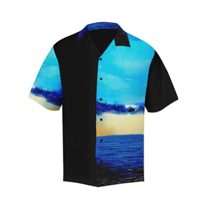 Blue Ocean Rebirth Hawaiian Shirt Black Side | JSFA - JSFA - Original Art On Fashion by Jenny Simon
