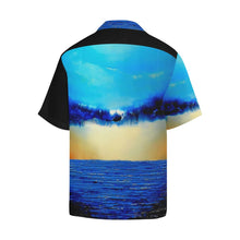 Load image into Gallery viewer, Blue Ocean Rebirth Hawaiian Shirt Black Side | JSFA - JSFA - Original Art On Fashion by Jenny Simon