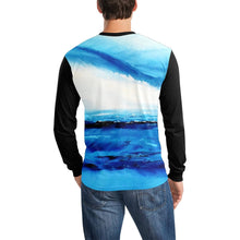 Load image into Gallery viewer, Blue Ocean Spellbound Black Long Sleeve Men's T-shirt | JSFA - JSFA - Original Art On Fashion by Jenny Simon