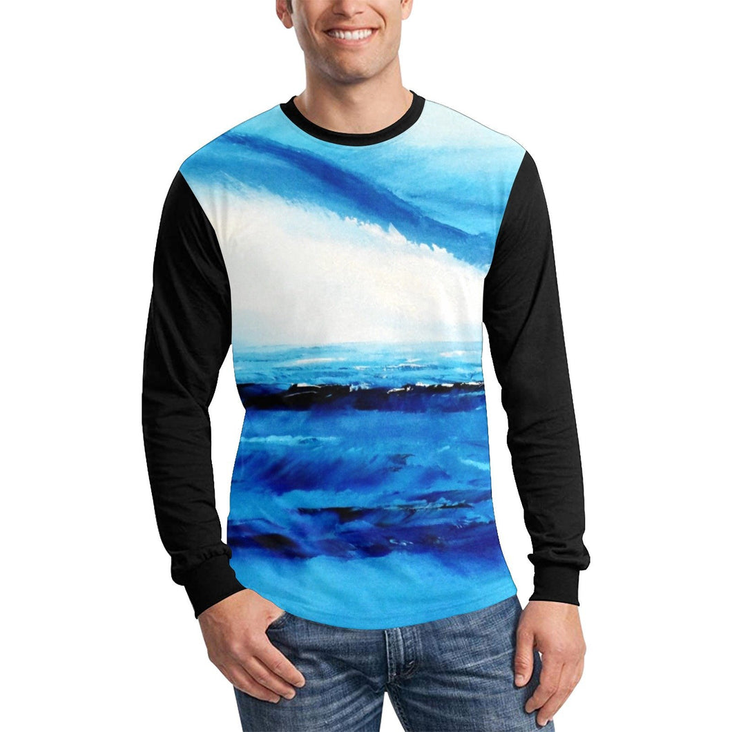 Blue Ocean Spellbound Black Long Sleeve Men's T-shirt | JSFA - JSFA - Original Art On Fashion by Jenny Simon