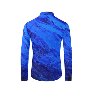 Blue Secret Long Sleeve Men's Shirt | JSFA - JSFA - Original Art On Fashion by Jenny Simon