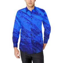 Load image into Gallery viewer, Blue Secret Long Sleeve Men's Shirt | JSFA - JSFA - Original Art On Fashion by Jenny Simon
