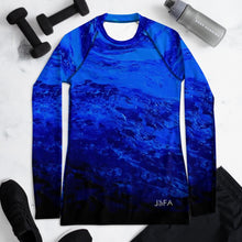Load image into Gallery viewer, Blue Secret Long Sleeve Shirt/ Rash Guard - JSFA - Original Art On Fashion by Jenny Simon
