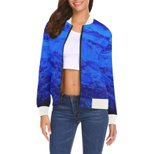 Load image into Gallery viewer, Blue Secret Women's Casual Bomber Jacket | JSFA - JSFA - Original Art On Fashion by Jenny Simon