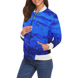Blue Secret Women's Casual Bomber Jacket | JSFA - JSFA - Original Art On Fashion by Jenny Simon