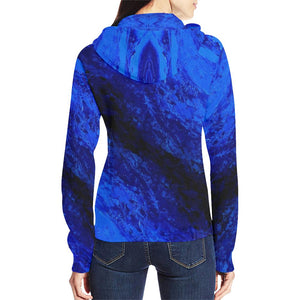 Blue Secret Women's Zip Up Hoodie Jacket | JSFA - JSFA - Original Art On Fashion by Jenny Simon