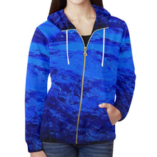 Load image into Gallery viewer, Blue Secret Women's Zip Up Hoodie Jacket | JSFA - JSFA - Original Art On Fashion by Jenny Simon
