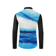 Load image into Gallery viewer, Blue Spellbound Black Long Sleeve Men's Shirt | JSFA - JSFA - Original Art On Fashion by Jenny Simon