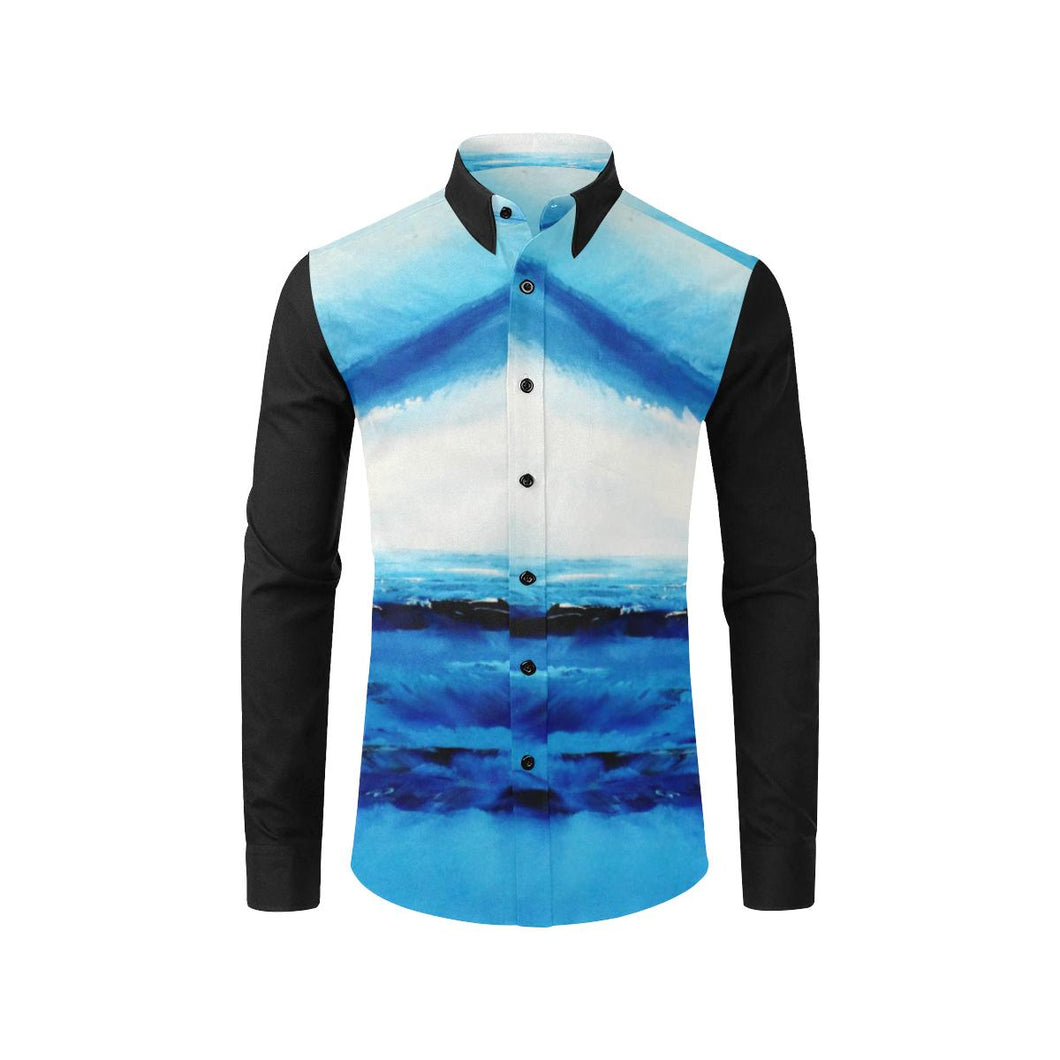 Blue Spellbound Black Long Sleeve Men's Shirt | JSFA - JSFA - Original Art On Fashion by Jenny Simon
