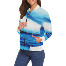 Load image into Gallery viewer, Blue Spellbound Women's Casual Bomber Jacket | JSFA - JSFA - Original Art On Fashion by Jenny Simon