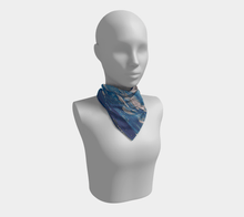 Load image into Gallery viewer, Blue Waves Square Scarf | JSFA - JSFA - Original Art On Fashion by Jenny Simon