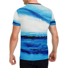 Load image into Gallery viewer, Blue White Ocean Spellbound Men's T-Shirt | JSFA - JSFA - Original Art On Fashion by Jenny Simon