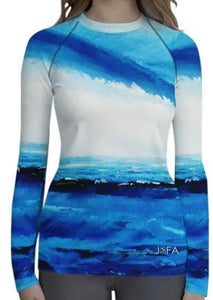 Blue White Spellbound Long Sleeve Shirt/ Rash Guard - JSFA - Original Art On Fashion by Jenny Simon