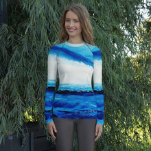 Load image into Gallery viewer, Blue White Spellbound Long Sleeve Shirt/ Rash Guard - JSFA - Original Art On Fashion by Jenny Simon