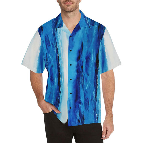 Blue White Spellbound Stripes Hawaiian Shirt | JSFA - JSFA - Original Art On Fashion by Jenny Simon