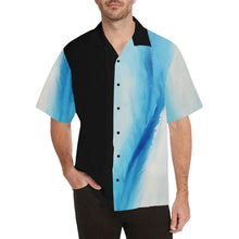 Load image into Gallery viewer, Blue White Spleebound Black Side Hawaiian Shirt | JSFA - JSFA - Original Art On Fashion by Jenny Simon