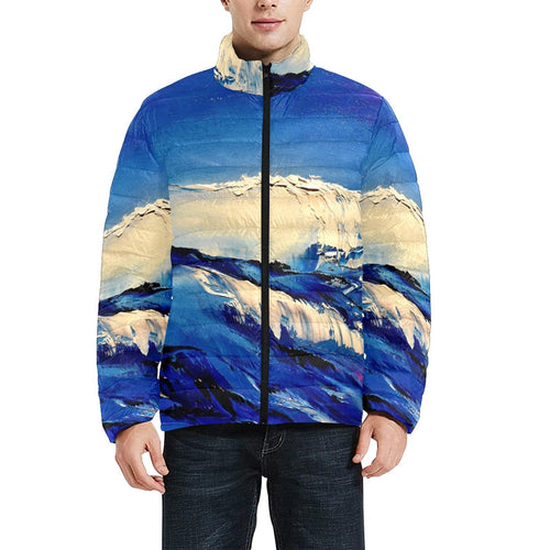 Blue White Wave Men's Bomber Jacket | JSFA - JSFA - Original Art On Fashion by Jenny Simon