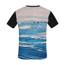 Load image into Gallery viewer, Blue White Waves Black Men's T-Shirt | JSFA - JSFA - Original Art On Fashion by Jenny Simon
