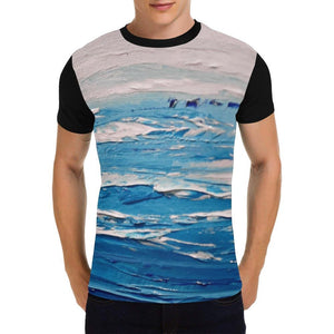 Blue White Waves Black Men's T-Shirt | JSFA - JSFA - Original Art On Fashion by Jenny Simon