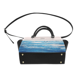 Blue White Waves Handbag Top Handle | JSFA - JSFA - Original Art On Fashion by Jenny Simon