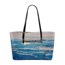 Load image into Gallery viewer, Blue White Waves Large Tote Bag | JSFA - JSFA - Original Art On Fashion by Jenny Simon