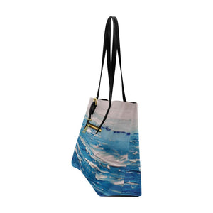 Blue White Waves Large Tote Bag | JSFA - JSFA - Original Art On Fashion by Jenny Simon