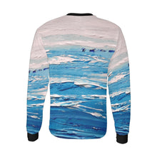 Load image into Gallery viewer, Blue White Waves Long Sleeve Men's T-shirt | JSFA - JSFA - Original Art On Fashion by Jenny Simon