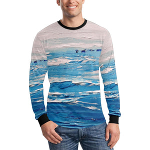 Blue White Waves Long Sleeve Men's T-shirt | JSFA - JSFA - Original Art On Fashion by Jenny Simon