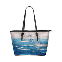 Load image into Gallery viewer, Blue White Waves Medium Zipper Leather Tote Bag | JSFA - JSFA - Original Art On Fashion by Jenny Simon